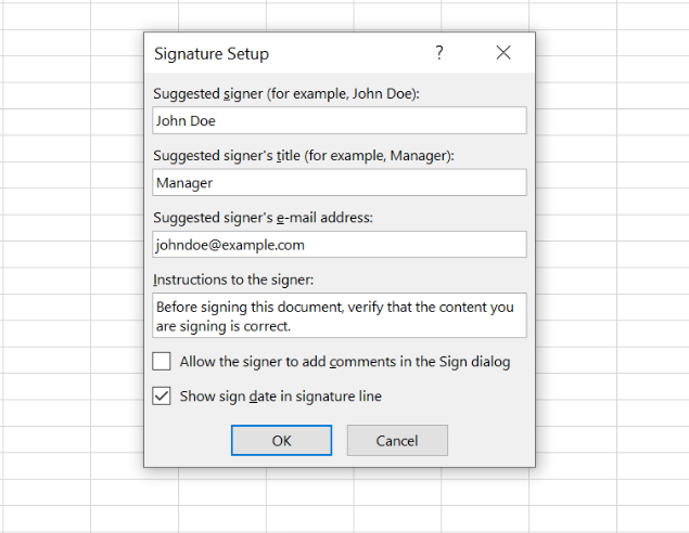 Set up your signature by entering the required information