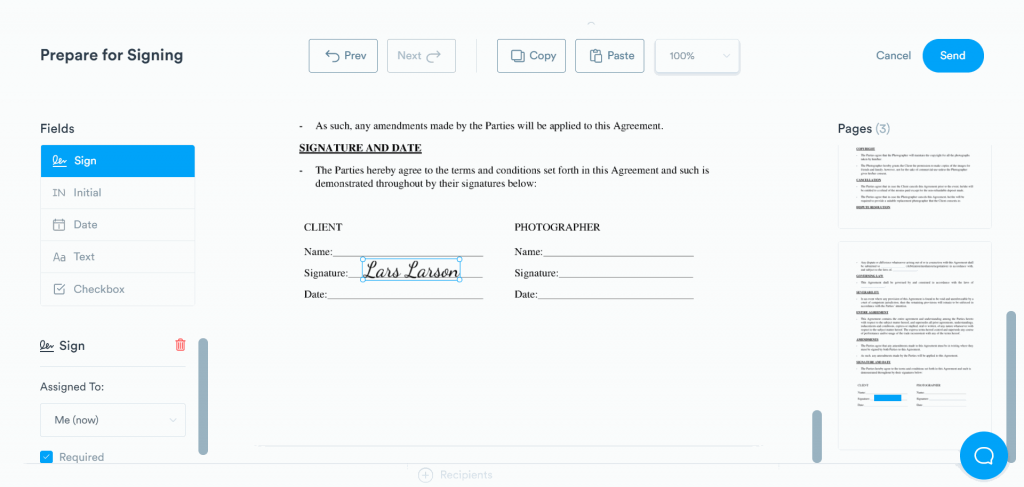 Add your signature on the document