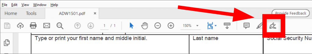 """Select the """"Sign"""" button located to the far right of the toolbar"""