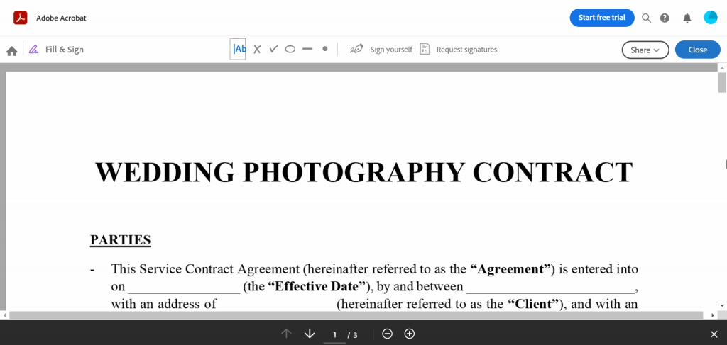 You'll be sent to an editor where you can sign the PDF document