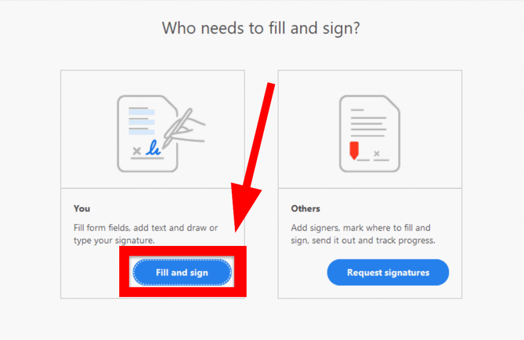 """Select the """"Fill and Sign"""" option"""