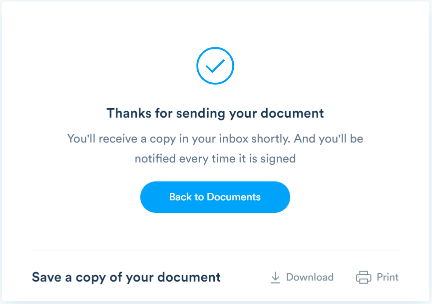 Your document will now appear in your Signaturely account inbox