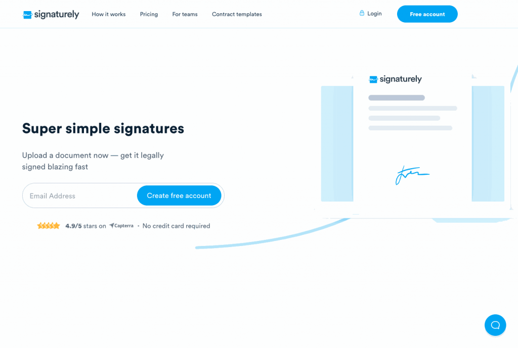 Signaturely is an electronic signature solution that caters to small to medium businesses and freelancers.