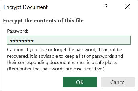 Encrypt excel workbook