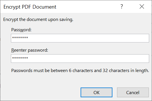Encrypt PDF document