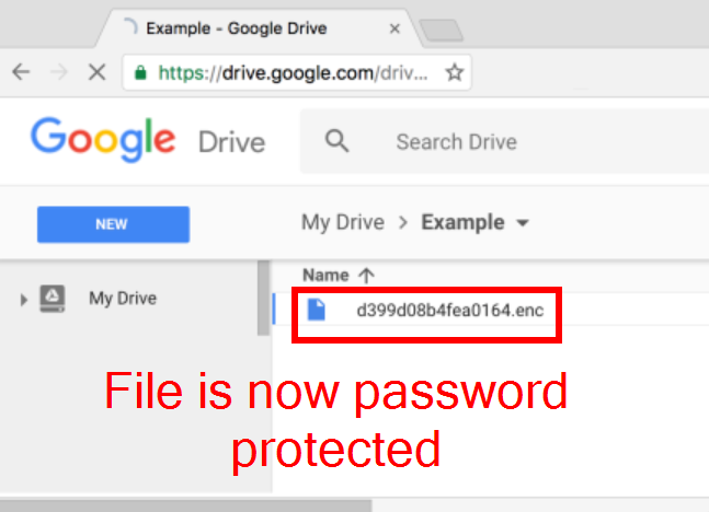Upload secure documents on Google Drive