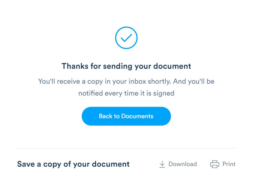 Send your document using Signaturely