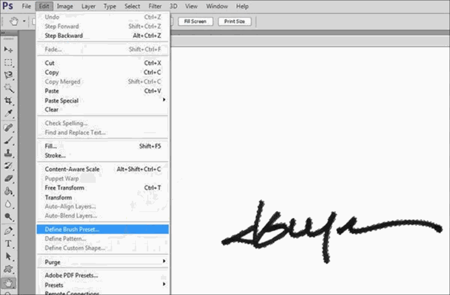 Signing an image on Photoshop
