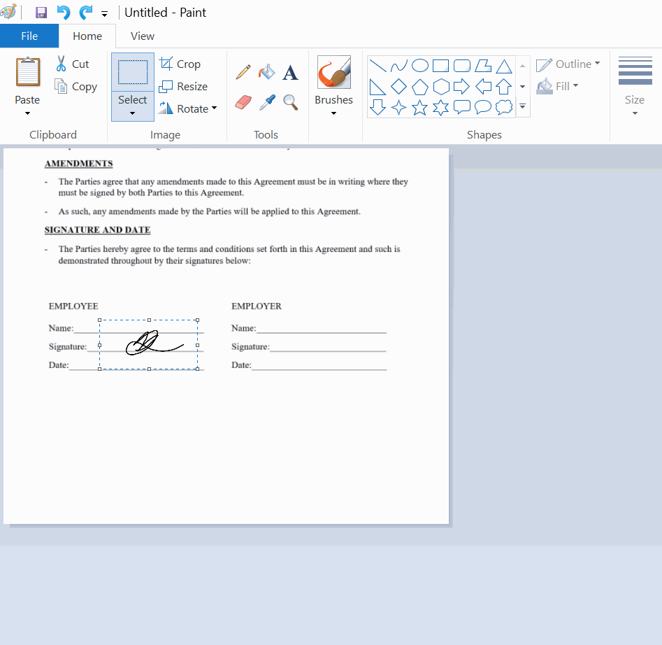Resize and place your digital signature on word