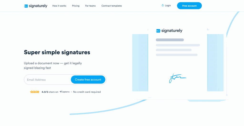 Signaturely is a simple and effective electronic signature software created to help you upload documents and legally sign them online as fast as possible.
